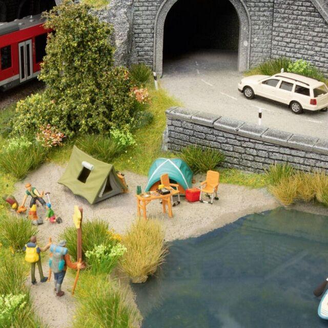 Set de 4 figurines + accessoires thème Camping-HO 1/87-NOCH 16201