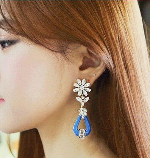 Korean Fashion Blue Luxury Crystal Rhinestone Vintage Pendent Earrings Stud New