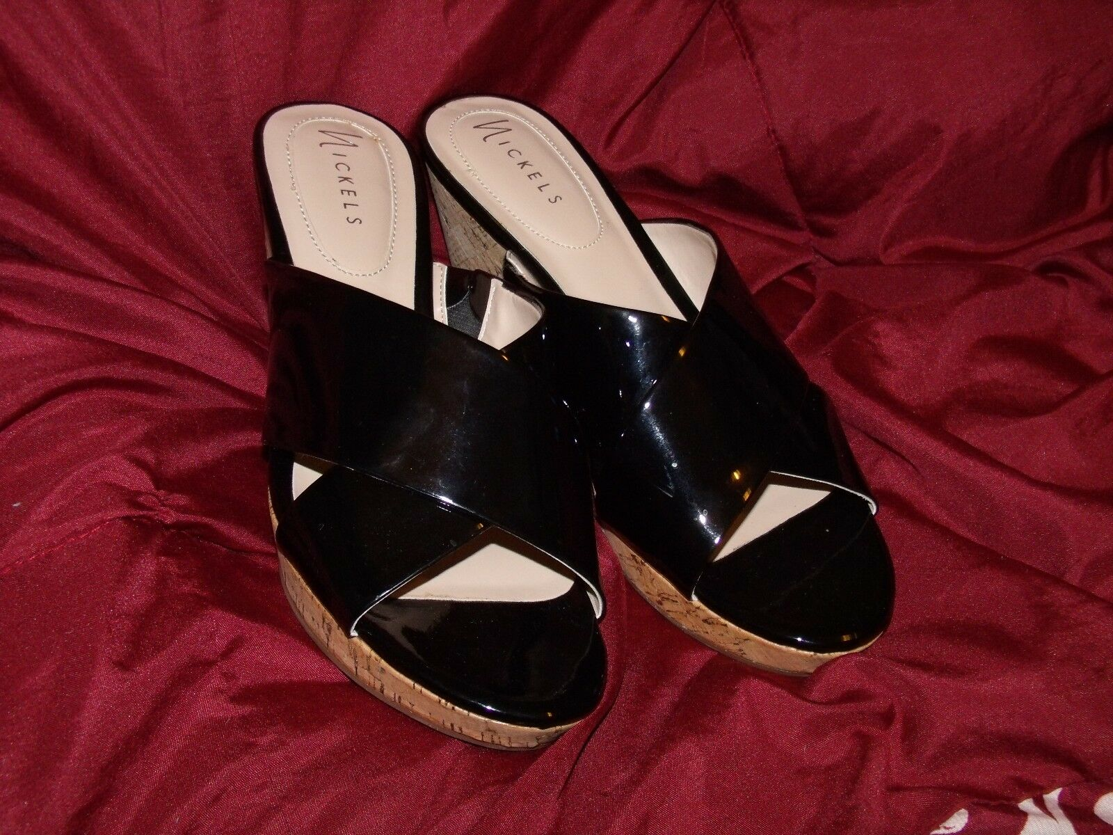 Nickels Shoes Solid Black Synthetic Open Toe Mules Wedge Heel Shoes Nickels 10 M Arlene 10M 031505