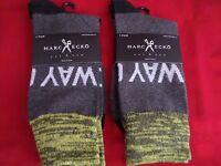 2 Pair Large Marc Ecko Cut & Sew Cotton Crew Socks 6-12 Yellow