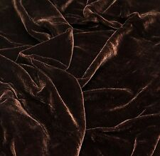 """SILK RAYON VELVET CHOCOLATE SOLID FABRIC 45"""" CLOTHING DRAPERY DRESSES BY YARD"""