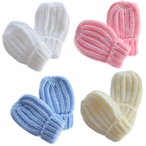 Baby Gloves Mittens Mitts Knitted Cable Knit Winter Warm Girl Boy Newborn Babies