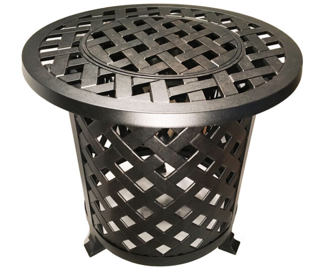 Round Patio End Table  With Ice Bucket Insert Nassau Outdoor Cast Aluminum