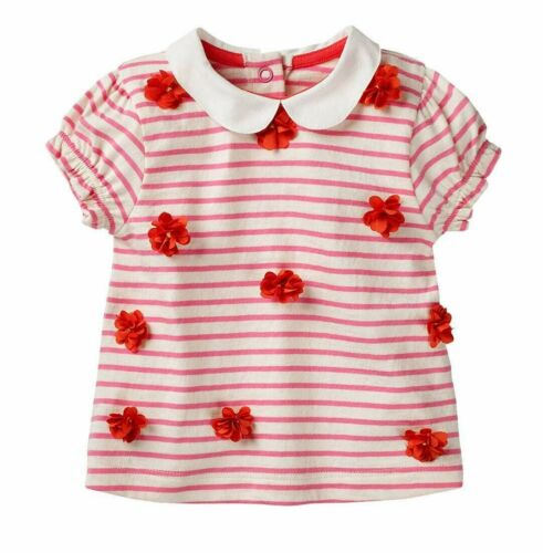 4yrs RRP £24 Girls Ex Mini Boden T-Shirt Pink Sweet Stripe 3D Flower Top 3m