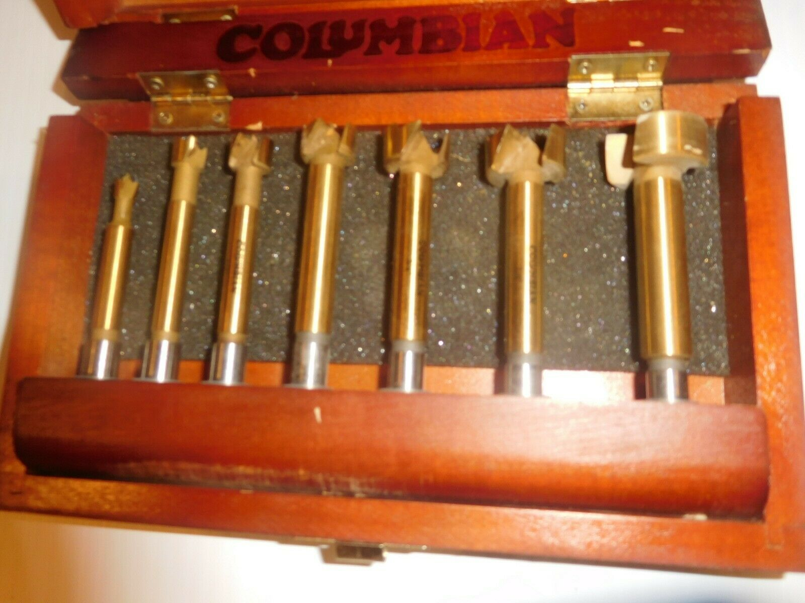 COLUMBIA WOODWORKING DRILL BIT SET in WOODEN BOX CARPENTRY TOOLS UNUSED