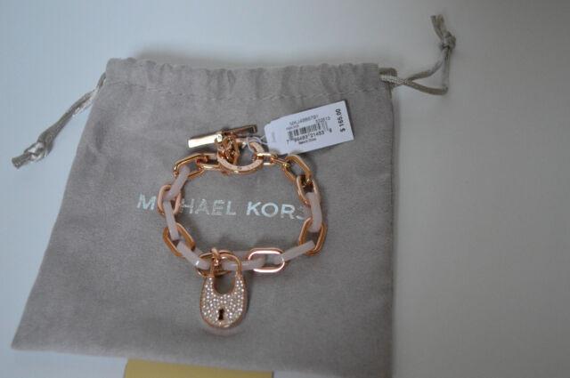 MICHAEL KORS Pave Padlock Blush Tortoise Bracelet Rose Gold Tone MKJ4888791 New