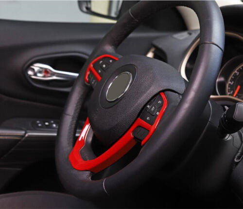 For Jeep Cherokee Grand Cherokee 2014-2019 ABS Red Steering Wheel Cover Trim