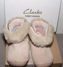 GIRLS CHILDREN'S CLARKS FIRST SHOES SUEDE BOOTS LITTLE BOUNCE  UK 3 G EUR 18.5