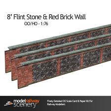 8ft FLINT STONE & BRICK WALL CARD KIT- OO GAUGE FOR HORNBY MODEL RAILWAYS