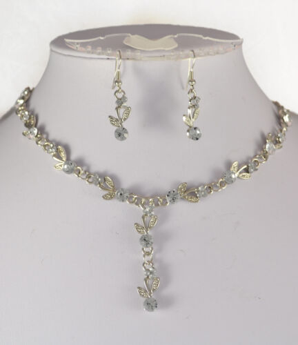 SILVER TONE CLEAR CRYSTAL  NECKLACE AND  EARRINGS SET