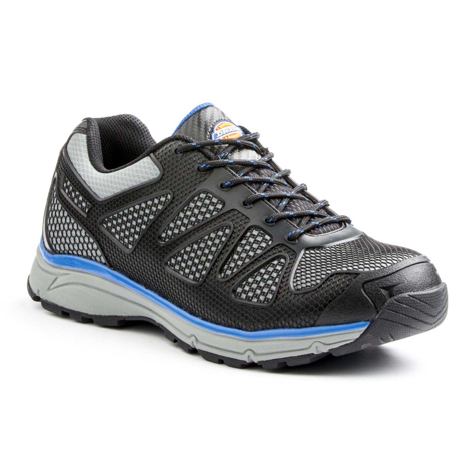 Men's Dickies Men's Fury Low Steel Toe shoes Black bluee 9  NC6SY-M244