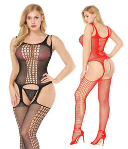 3182d2202b Image is loading Sexy-Open-Crotch-Crotchless-Body-Stockings-Fish-Net-