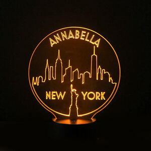 Image Is Loading New York Skyline Personalised 7 Colour LED Night