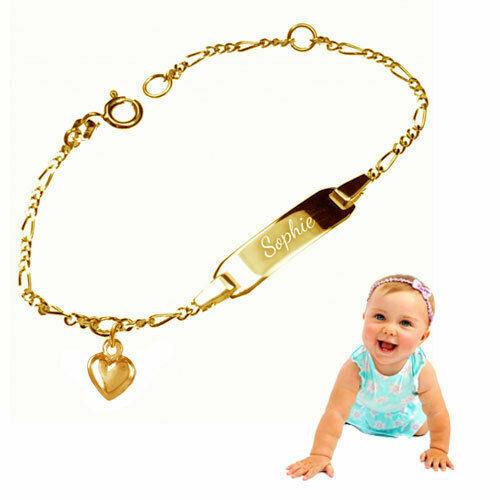 Oberfläche gelbgold vergoldet Echt Silber925 Babyarmband mit Herz Gravur