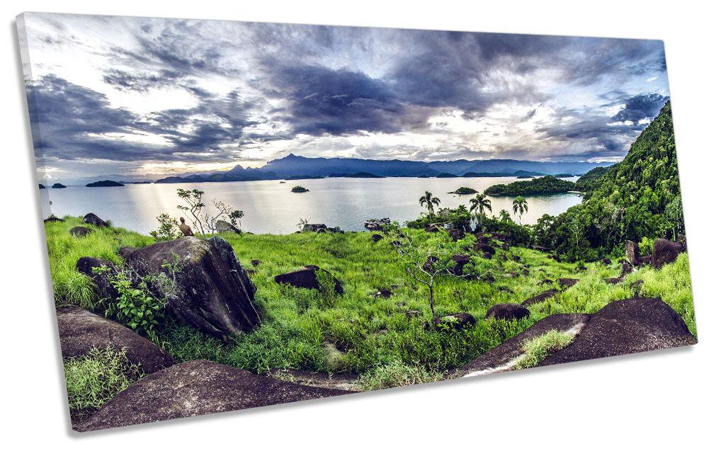 Brazil Grün Landscape Lake Picture PANORAMIC CANVAS WALL ART Print