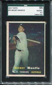 1957-039-57-Topps-Baseball-95-Mickey-Mantle-Card-Graded-SGC-VG-EX-55-Yankees