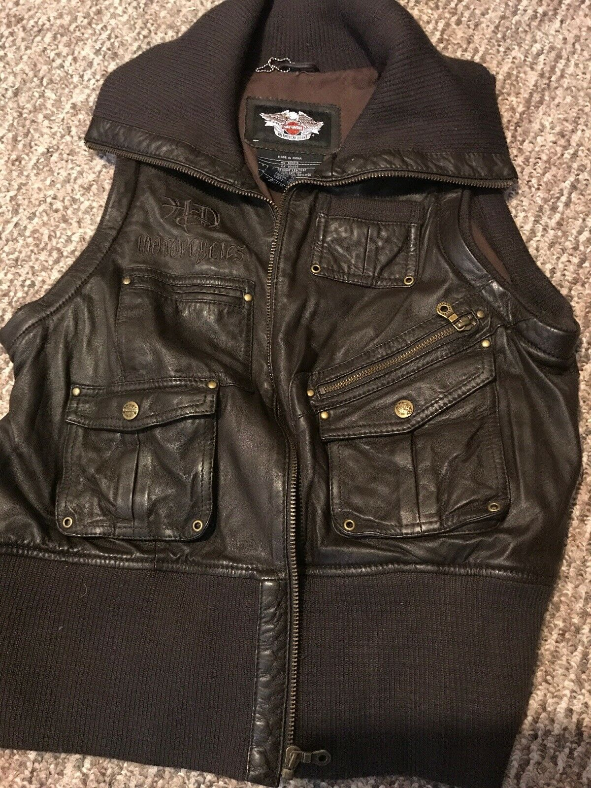Womans Chocolate Leather Vest Harley Davidson