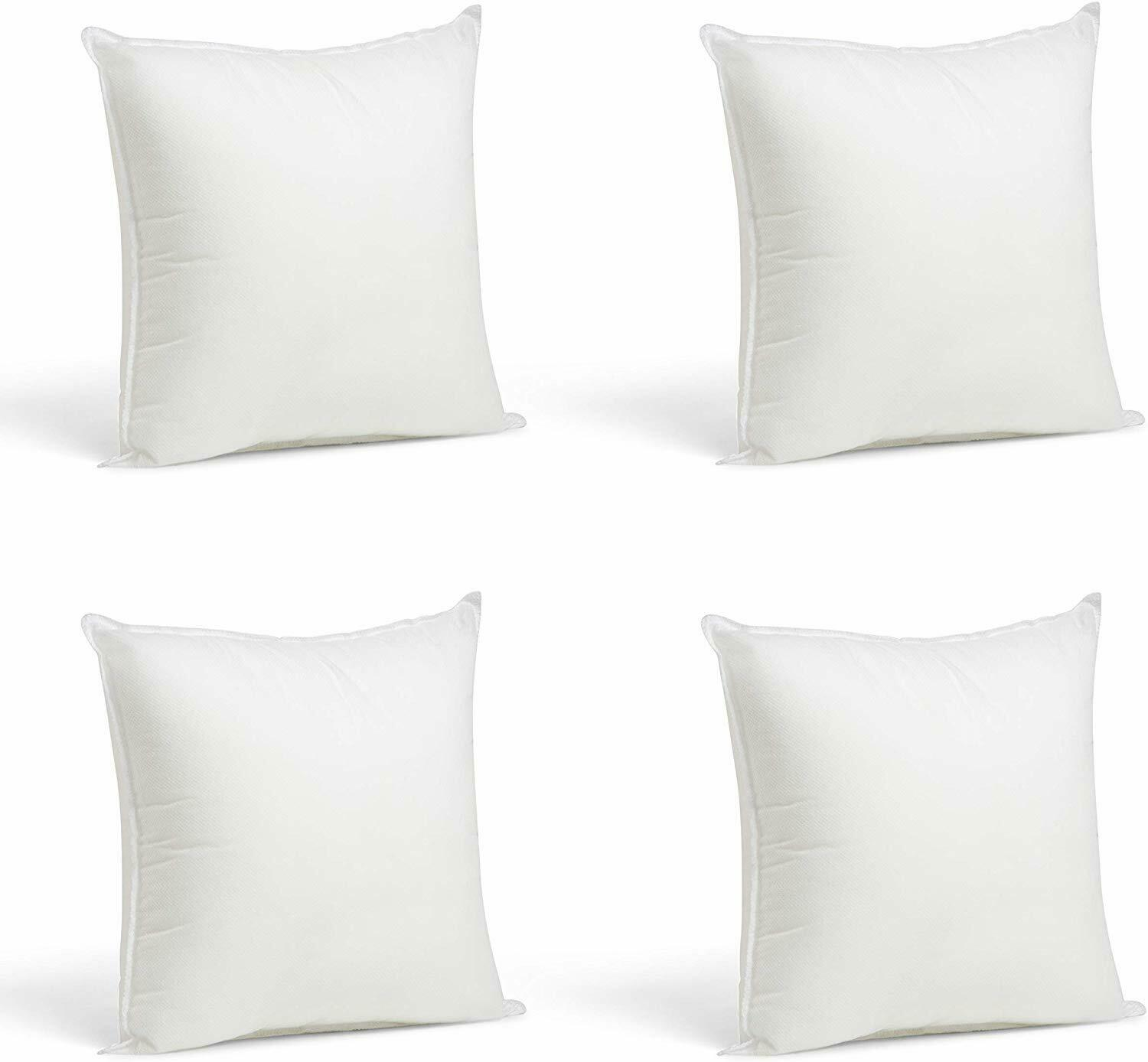 ANA Cushion Filler Throw Pillow Inserts Hypoallergenic Square Form Sham Stuffer 4 pcs Pack in18 x 18