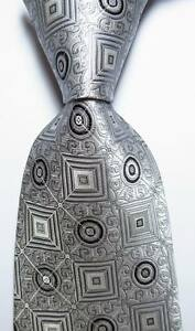 New-Classic-Dot-Silver-Gray-Black-JACQUARD-WOVEN-100-Silk-Men-039-s-Tie-Necktie