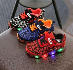 c8fa86a275d9e Caricamento dell immagine in corso Scarpe-bambini-Luci-Spiderman-Led- Sneakers-Sport-Light-
