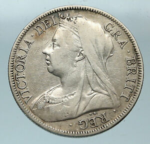 1895-UK-Great-Britain-United-Kingdom-QUEEN-VICTORIA-1-2-Crown-Silver-Coin-i83671