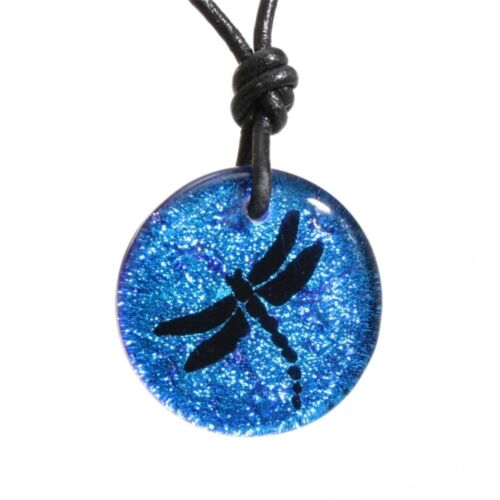 Dragonfly Pendant Fused Dichroic Glass Blue Necklace By Zulasurfing