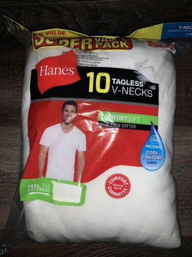 Hanes ~ Men/'s 10-Pack T-Shirts White Undershirts Tagless V-Neck ~ M 38-40