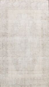 Muted Vintage Distressed Traditional Evenly Low Pile Hand-knotted Area Rug 10x13