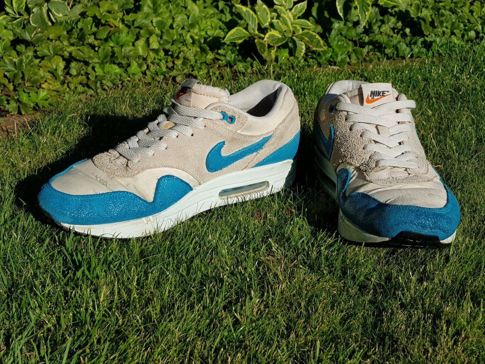Nike Air Max 1 sehr guter Zustand  Essential Beige Blau 44,5 OVP  Turnschuhe