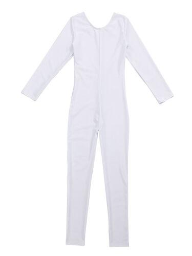 Girls Spandex Long Sleeve Full Body Unitard Leotard Jumpsuit Dance wear Costumes
