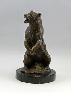 5cm Reliable Performance Metalware Confident 9937741 Bronze Plastic Sculpture Grizzly Bear Brown Bear Sign Barye 20x36 Antiques