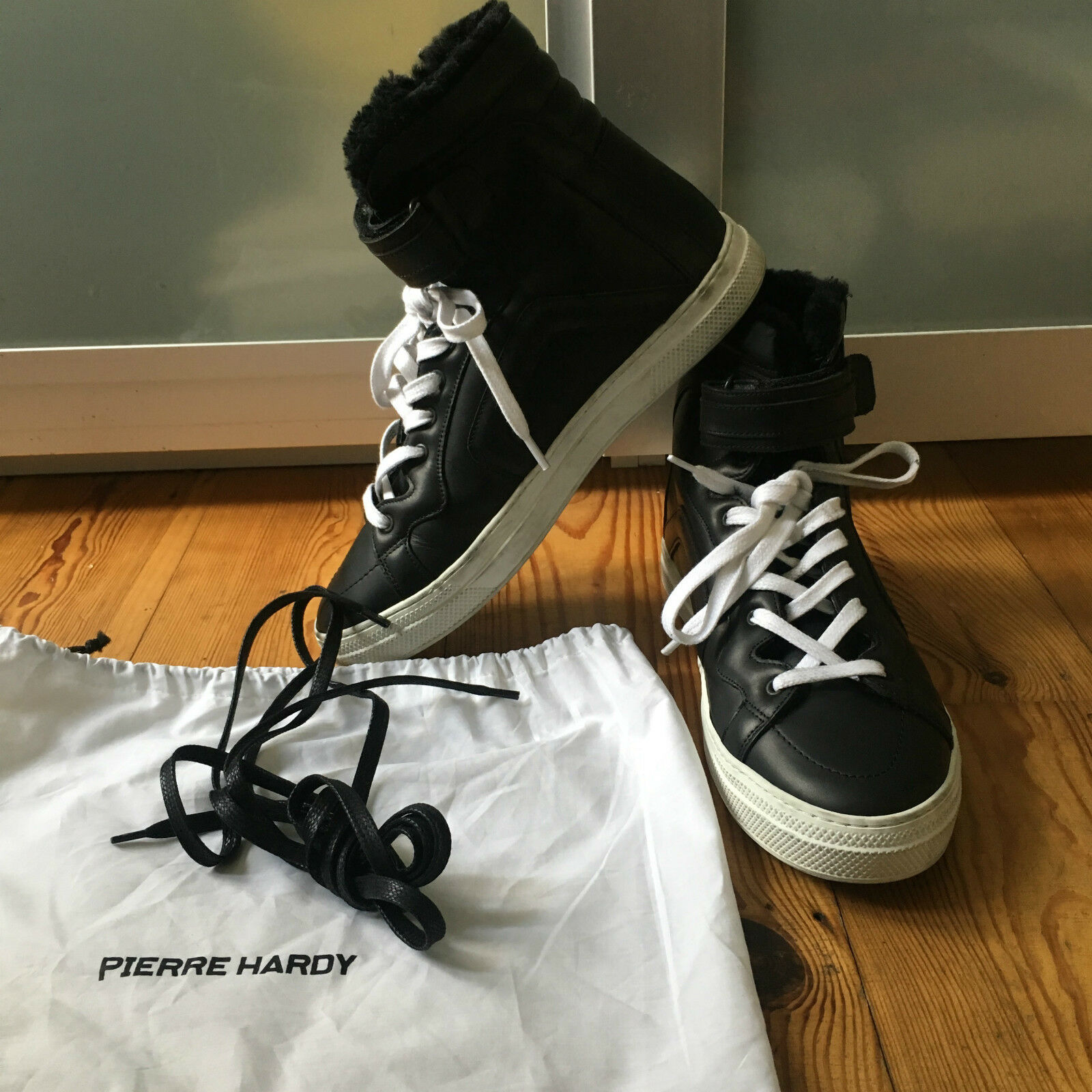 Very cool Pierre Hardy Shearling-Lined Leather High-Top Sneakers spare laces UK8