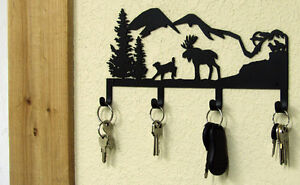Moose Key Holder Northwoods Mountain Cabin Rustic Lodge