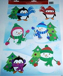 Christmas-Window-Clings-CHRISTMAS-PENQUINS-amp-SNOWMEN-DRESSED-IN-HATS-AND-SCARFS