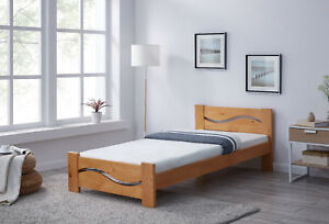 Wooden Bed Frame Wave Design Cutout Single Double King