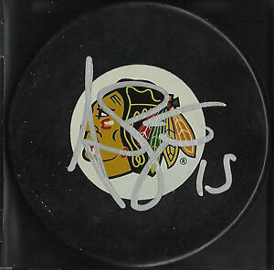 ANDREW-BRUNETTE-SIGNED-CHICAGO-BLACKHAWKS-HOCKEY-PUCK-MINNESOTA-WILD-AUTOGRAPH-J