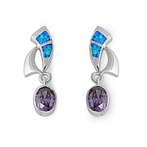 Oval Hanging Earrings Simulated Amethyst Blue Simulated Opal 925 Sterling Silver