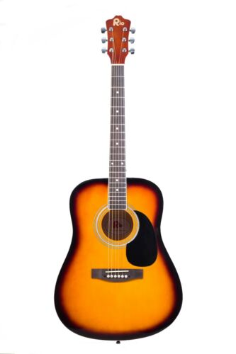 Rio 41/'/' Full Size 4//4 Beginner Dreadnought Acoustic Guitar Pack Package SB