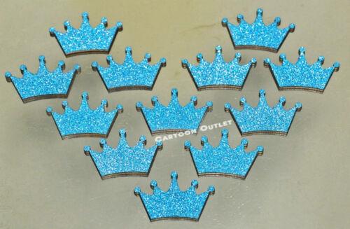 "Birthday Party Baby Shower Princess Mini 1/"" crown Blue Glitter Decoration 20 pc"