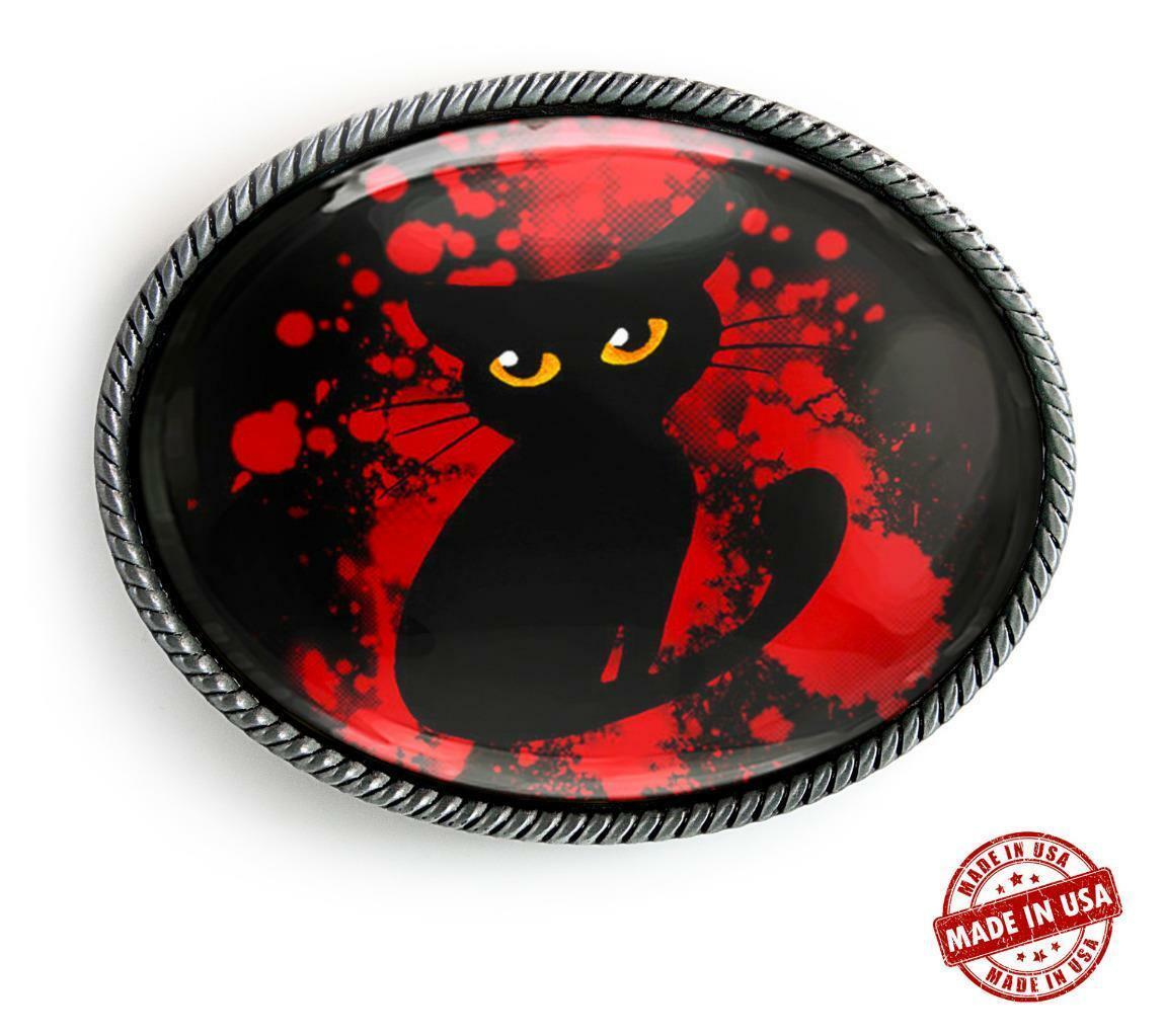Black Cat Glowing Eyes Horror Halloween Handmade Artisan Belt Buckle