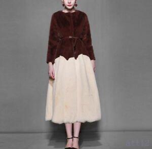 Chic Genuine Jacket Fur Long Overcoat Dress Warm Outwear 100 Womens Parka Coat Rw1qPW5