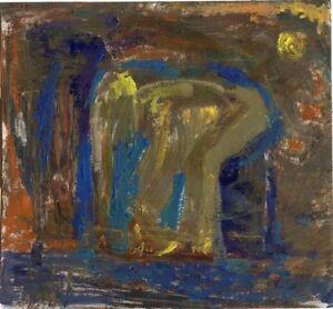 "Expressionist Öl Pappe ""Akt"" 16x16 cm"
