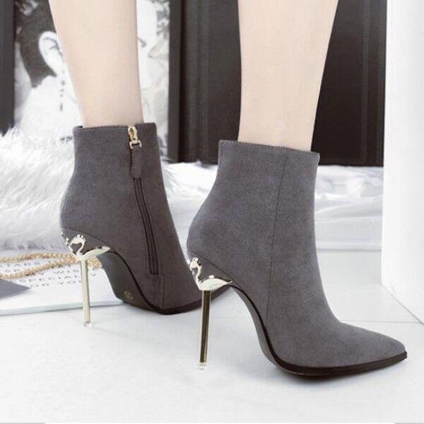 botas bajo tacón de aguja 10 cm gris plata elegantes como piel 9491