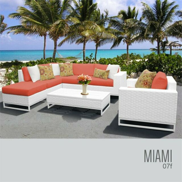 Excellent Tk Classic Miami 7 Piece Patio Sofa Set In Orange And White Cjindustries Chair Design For Home Cjindustriesco