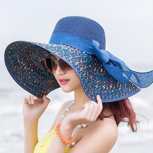 Women/'s Summer Sun Hat Foldable Straw With Bow Knot Design Fashionable Head Wear