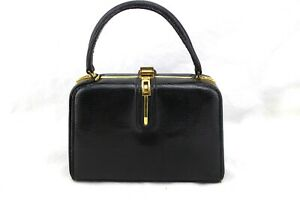 FERNANDE DESGRANGES 1950's Black Lizard Leather Purse Bag Made In France RARE