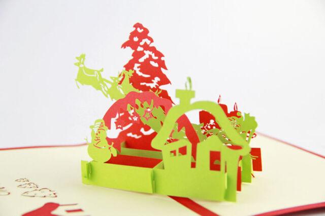3D POP UP Christmas Card Snowman Reindeer Xmas Tree Candle Joyous Kirigami Card