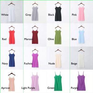 Womens Full Slip Strappy Underdress  Camisole CSleepwear White