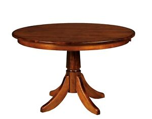 Amish Round Pedestal Dining Table Baytown Solid Wood Traditional 42