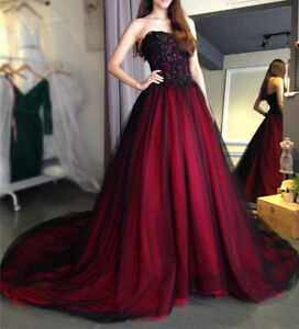 23b4400af7 Gothic Red and Black Wedding Dress A Line Quinceanera Dresses Prom ...